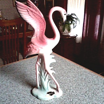 "Brad Keeler Artware ""Flamingo"" Figurine / Hand Painted California Pottery / Circa 1940 - Figurines"
