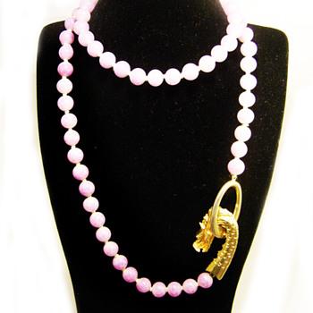 Vintage Les Bernard Dragon Clasp Purple Bead Necklace - Costume Jewelry