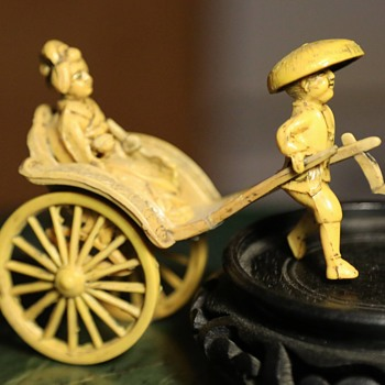 Antique / Vintage Plastic / Celluloid Rickshaw with Lady - Asian