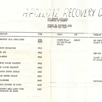 Apollo 12 Recovery Schedule - Military and Wartime