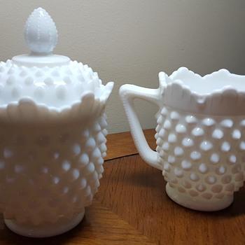 Fenton Hobnail Milk Glass Creamer and Sugar - Glassware