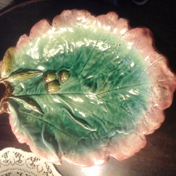 Antique Majolica Oak Leaf Platter with Acorns  - Pottery