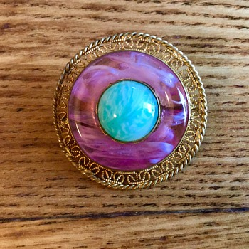 Glass brooch - Costume Jewelry