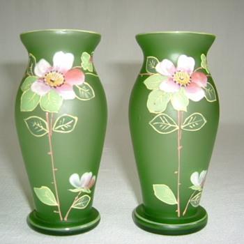 Goldberg Satin Glass Vases with Enamelled Wild Roses - Art Glass