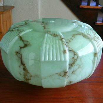 Czech? Art deco green marbled light shade - Art Deco