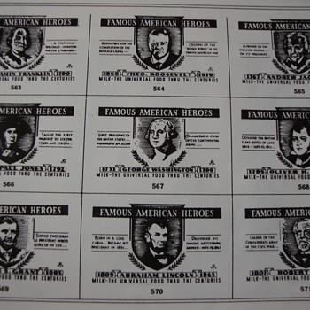 """FAMOUS AMERICAN HEROES SERIES"" shown on backs of milk bottles - Bottles"
