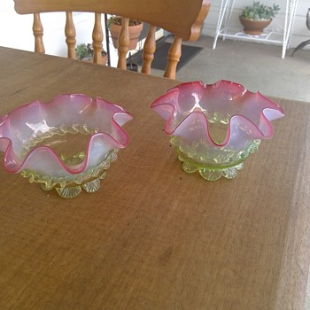 Pair of Victorian Cranberry Vaseline Footed Bowls - Art Glass
