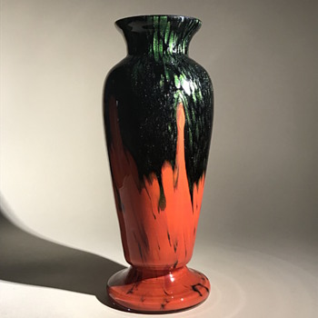 Bohemian Czech Baluster Vase Red Pulls and Aventurine  - Art Glass