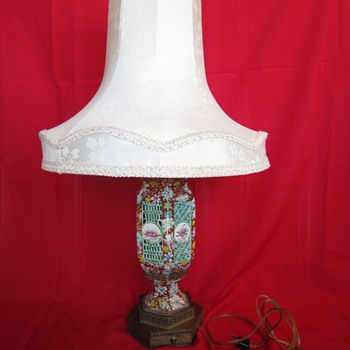 Antique Chinese Pierced Porcelain Table Lamp with Silk Shade - Lamps