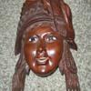 HELP VINTAGE WOODEN CARVED ENAMEL GIRLS HEAD FOLK ART