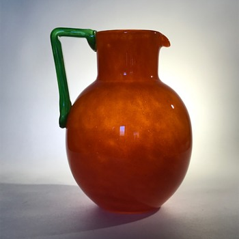 French Schneider Orange Pitcher or Jug with Green Handle - Art Glass