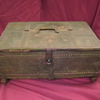 Very Old Decorated Wooden Box - Folk Art
