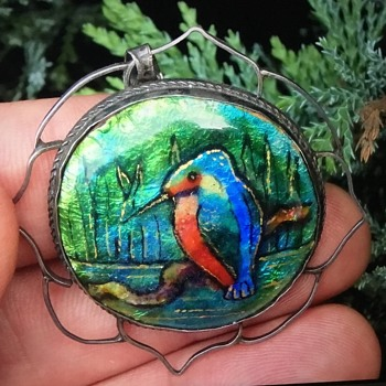 Silver Enamel Kingfisher pendant - Arts and Crafts