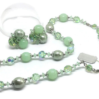 Soft Green Beads and Crystals - Sherman necklace & Earrings set - Costume Jewelry