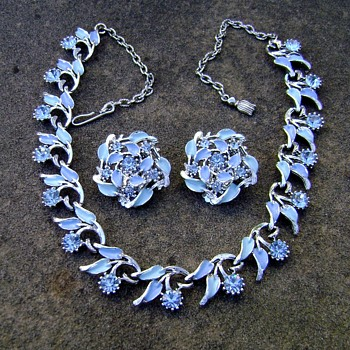 Jewels by Park Lane - Blue Enamel & Rhinestone Necklace Earring Set