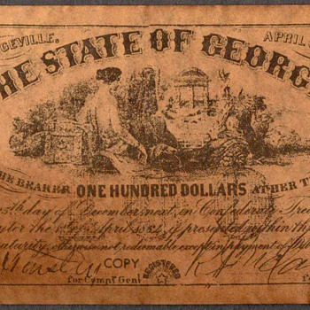 Confederate Currency - Novelty Note (Georgia) - US Paper Money