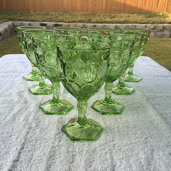 Vintage Green Goblets - Glassware