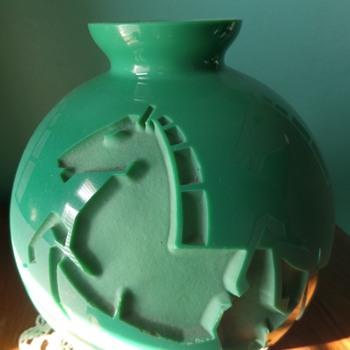 Art Deco, Jarvil Nancy opaque Horses vase