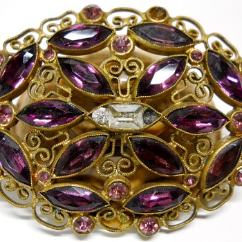 Vintage Czech Brooch, Circa 1950-60 - Costume Jewelry