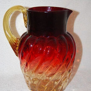 1890 Documented Harrach Amberino Art Glass Pitcher - Art Glass