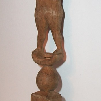Folk Art Sculpture of a Man a Ball and a Cage Whimsey or Whimsy collection Jim Linderman - Folk Art