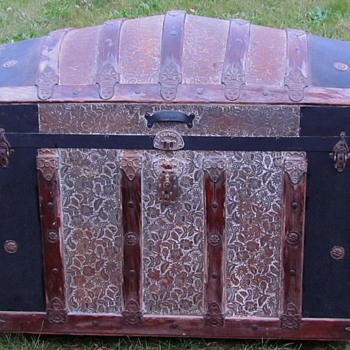 "1890's  36"" Ornate Floral Embossed Tin Dome Top Trunk    - Furniture"