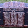 "1890's  36"" Ornate Floral Embossed Tin Dome Top Trunk"