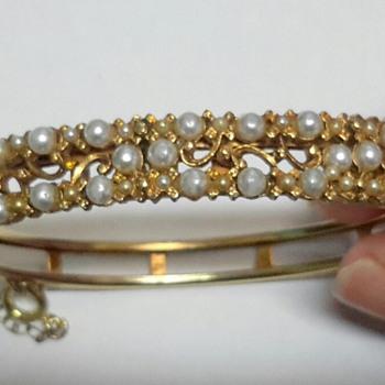 FLORENZA Gold Tone Faux Pearl Bangle - Costume Jewelry