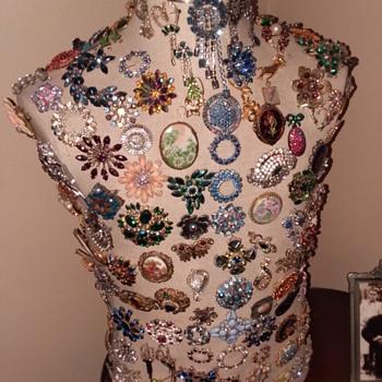 Brooches and vanity broom - Costume Jewelry