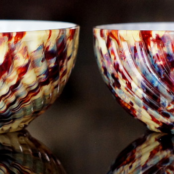 Ribbed Bowls in an Unusual Spatter - Welz? - Yes!! - Art Glass