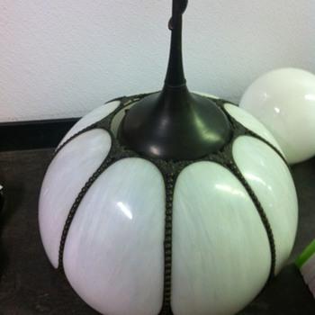 Vintage White Slag Glass Hanging Lamp