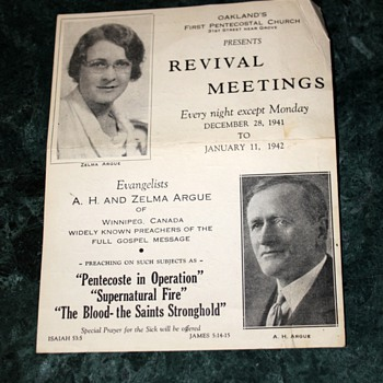 First Pentecostal Church Revival Meeting - December 28, 1941 - January 11, 1942 - Posters and Prints