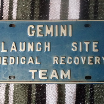 NASA-GEMINI LAUNCH SITE LICENCE PLATE - Military and Wartime
