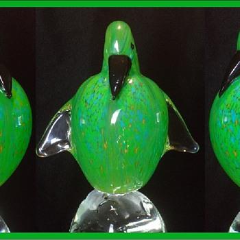 Art Glass Green Fan Tailed Bird on a Paperweight - Art Glass