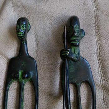 BENIN ,Tall Bronze People  - Figurines