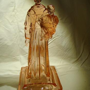 Blessing font - saint holding infant Jesus - Art Glass