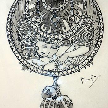 """1900 Alphonse Mucha """"Dessin de Montre"""" Jewelry Design Illustration for Georges Fouquet - Art Nouveau"""