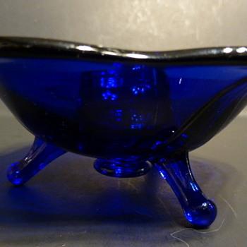 Fenton three legged cobalt candle holder - Glassware