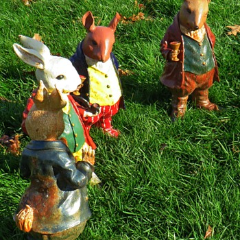 Cast Iron Peter Rabbit and Mr. Ratty Characters Spring Gathering - Animals