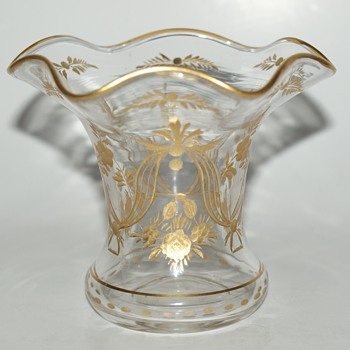 Small Cut Glass and Gilded Vase - Art Glass