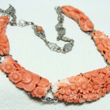 Antique Carved Chinese Coral Necklace  - Fine Jewelry