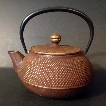 Iwachu gold and rust colored Arare kyusu - Asian