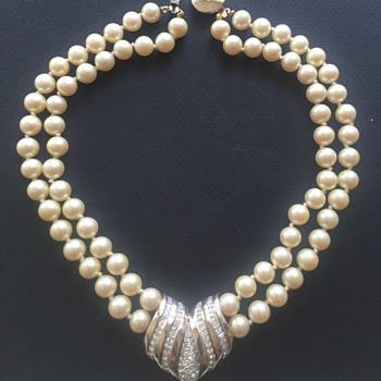 Panetta Rhinestone Pearl Necklace - Costume Jewelry