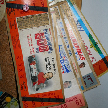 Indy 500 ticket stubs - Sporting Goods