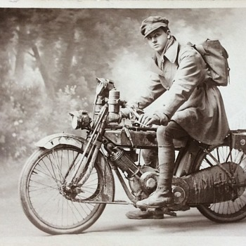 WW1 Photo of Soldier on Motorbike - Photographs