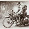 WW1 Photo of Soldier on Motorbike