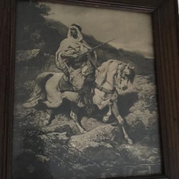 Adolf Schreyer Photogravure (?) of Arab or Bedouin on Horseback