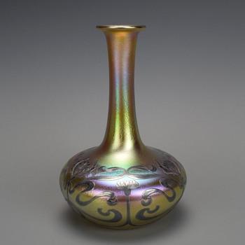 QUEZAL SILVER OVERLAY ART GLASS VASE CIRCA 1910