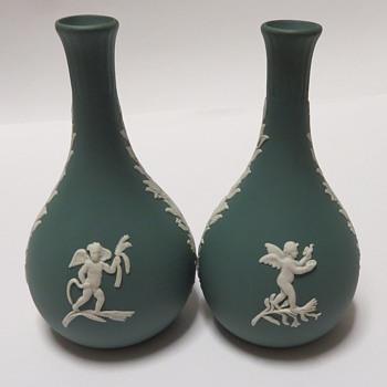Wedgwood Jasperware Teal Bud Vases - China and Dinnerware