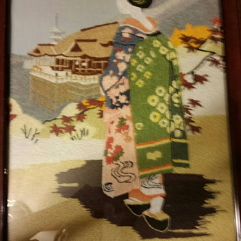 GEISHA EMBROIDERED framed 24x16 and GEISHA EMBROIDERED framed 14x17 1/2